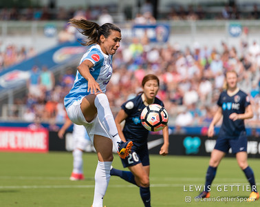 Marta (10) controls a pass during a match between the NC Courage and the Orlando Pride in Cary, NC in Week 3 of the 2017 NWSL season. Photo by Lewis Gettier.