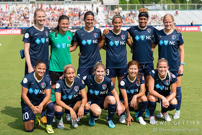 NC Courage Starting XI before a match between the NC Courage and the Orlando Pride in Cary, NC in Week 3 of the 2017 NWSL season. Photo by Lewis Gettier.