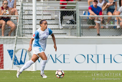 Monica Hickmann Alves (21) during a match between the NC Courage and the Orlando Pride in Cary, NC in Week 3 of the 2017 NWSL season. Photo by Lewis Gettier.