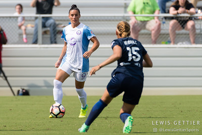 Ali Krieger (11) during a match between the NC Courage and the Orlando Pride in Cary, NC in Week 3 of the 2017 NWSL season. Photo by Lewis Gettier.