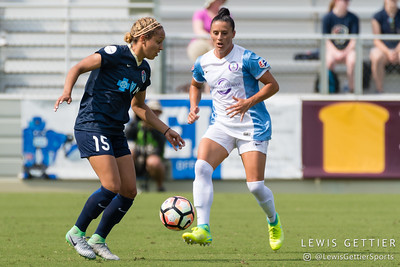 Jaelene Hinkle (15) and Ali Krieger (11) during a match between the NC Courage and the Orlando Pride in Cary, NC in Week 3 of the 2017 NWSL season. Photo by Lewis Gettier.