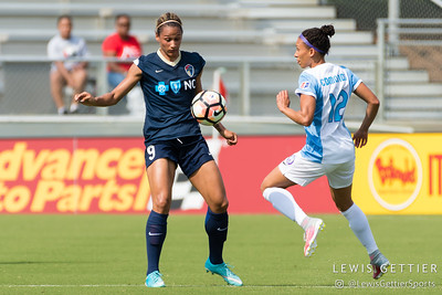 Lynn Williams (9) and Kristen Edmonds (12) during a match between the NC Courage and the Orlando Pride in Cary, NC in Week 3 of the 2017 NWSL season. Photo by Lewis Gettier.