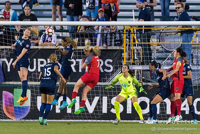 Sabrina D'Angelo (1) keeps her eye on the ball during a match between the NC Courage and the Portland Thorns in Cary, NC in Week 2 of the 2017 NWSL season. Photo by Lewis Gettier.