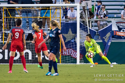 Sabrina D'Angelo (1) collects the ball during a match between the NC Courage and the Portland Thorns in Cary, NC in Week 2 of the 2017 NWSL season. Photo by Lewis Gettier.