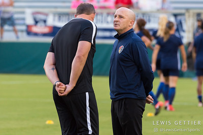 NC Courage head coach Paul Riley and assistant coach Scott Vallow before a match between the NC Courage and the Portland Thorns in Cary, NC in Week 2 of the 2017 NWSL season. Photo by Lewis Gettier.