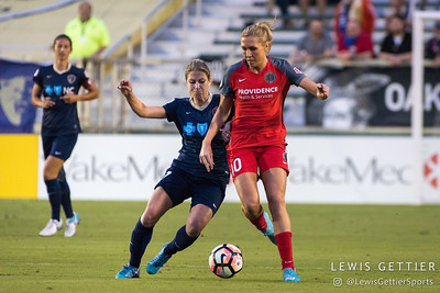 McCall Zerboni (7) and Allie Long (10) during a match between the NC Courage and the Portland Thorns in Cary, NC in Week 2 of the 2017 NWSL season. Photo by Lewis Gettier.