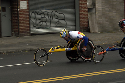 "KRIGE SCHABORT 307 USA Place 2  KURT FEARNLEY   300 AUS Place 1 WINNER of the Pushrim and Weelchairs. ""NEW YORK CITY MARATHON 2009""                                                     ""MILE 14 in Long Island City Queens"""