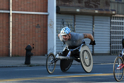 The winner of the 2010 NYC Marathon:   David Weir  # 311 GRB