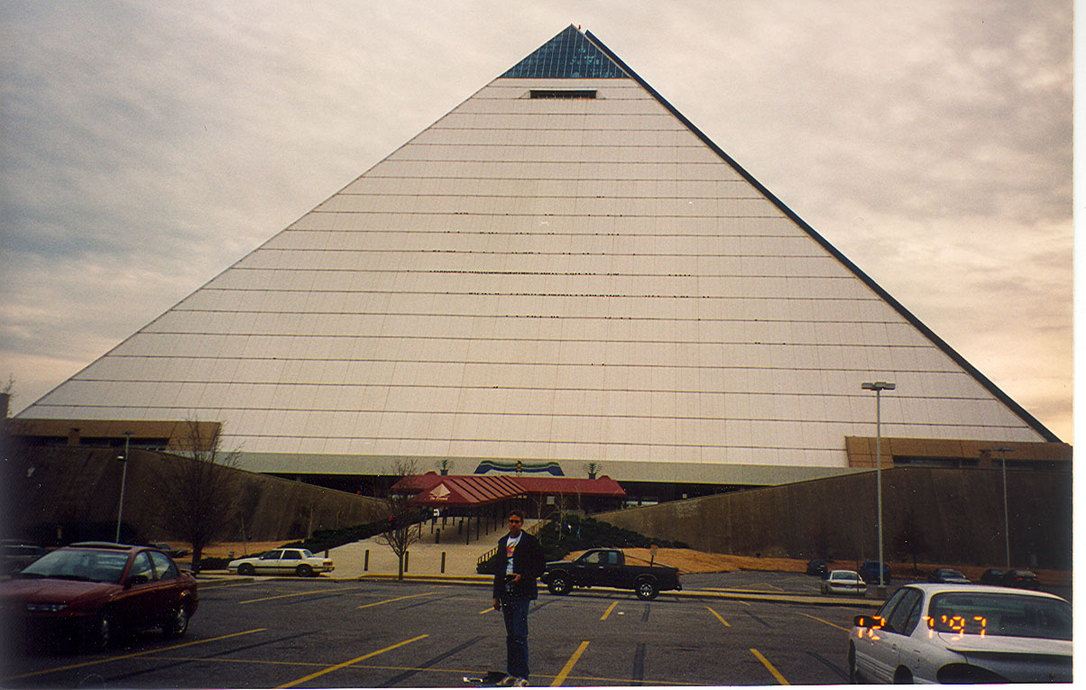 Scott in front of the Pyramid, the race finished here.