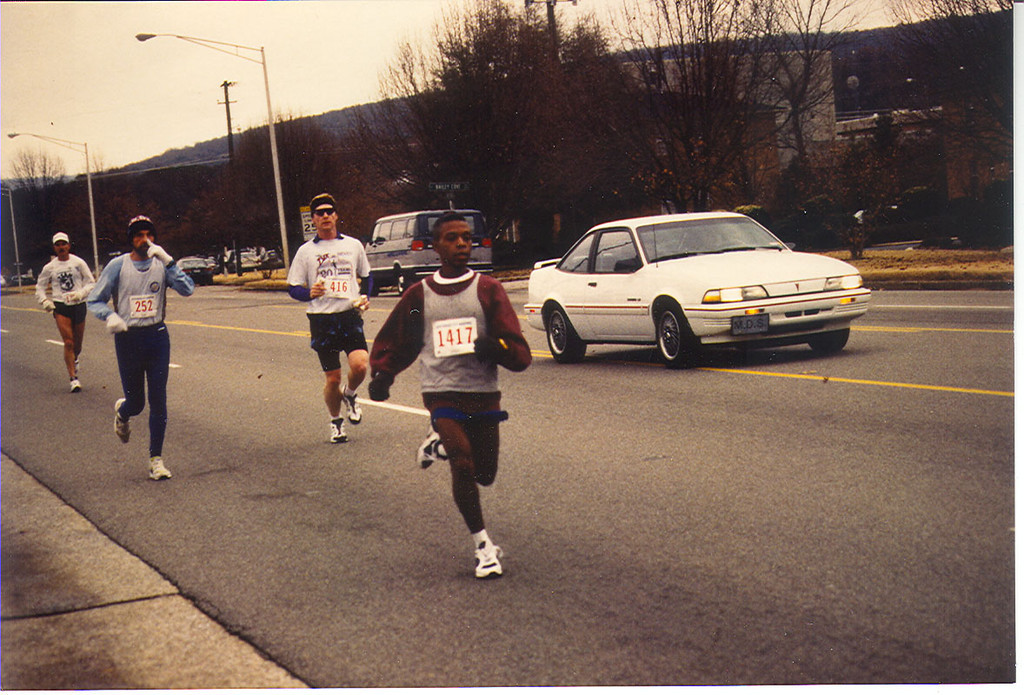 At about the 8 mile mark of the Rocket City Marathon, Huntsville, Alabama.  I'm the slow white guy on the right.
