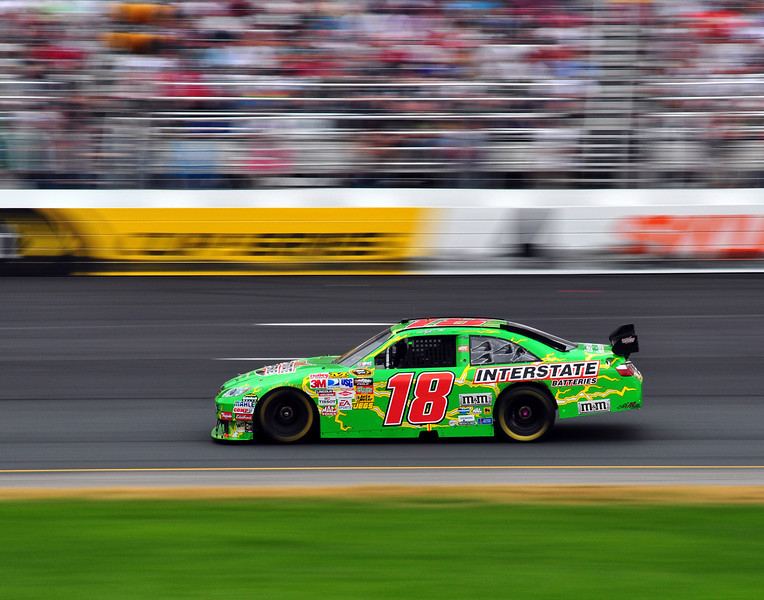 Kyle Busch enters turn 4, at New Hampshire Motor Speedway, during the Lennox Industrial Tools 301, on June 28th, 2009.