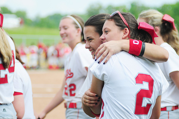 Members of the Neshannock softball team celebrate their victory. — Tiffany Wolfe