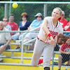 Neshannock's Alexandra Fischer makes a toss from first for an attempted double play.  — Tiffany Wolfe