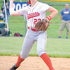 Corey J. Corbin/NEWS<br /> Lady Lancers shortstop Madison Altmyer fires a throw to first base in the first inning.