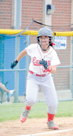 Corey J. Corbin/NEWS<br /> Neshannock's Kaela Zingaro breaks for the plate yesterday.