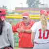 Corey J. Corbin/NEWS<br /> Neshannock softball coach Tracy Kimmel talks with his players after a 5-4 loss in eight innings to Claysburg-Kimmel in the PIAA Class A semifinals at Hempfield Area High School yesterday.