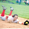 Corey J. Corbin/NEWS<br /> Neshannock's Marissa DeMatteo makes a diving catch against Claysburg-Kimmel yesterday.