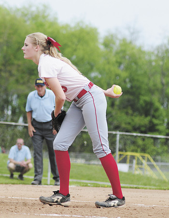 Neshannock pitcher Madison Shaffer was focused and ready as she tossed a perfect game against Vincentian Academy. — Tiffany Wolfe