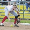 Alexandra Fischer grabs a ball at first base for an out. — Tiffany Wolfe