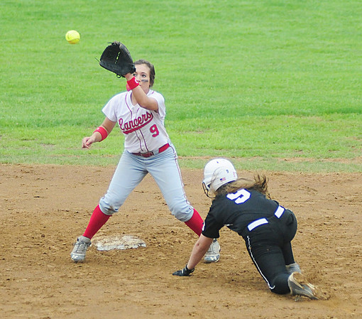Marissa DeMatteo beats a South Side player to second base for the out. — Tiffany Wolfe