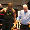 New England Golden Gloves boxing Open finals. Edmond Worley of Lowell (Blue corner) is declared winner by majority decision over Edit McApman of Randolph in Heavyweight Open championship. Referee is Jackie Morill. (SUN/Julia Malakie)