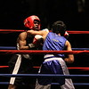 New England Golden Gloves Novice Finals. Luis Aybar of New London, CT (Blue) won by unanimous decision over Shin Murinda of Haverhill in 114 lb Novice final. Referee is Lucy Miller. (SUN/Julia Malakie)