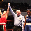 New England Golden Gloves Novice Finals. Katherine Zehr of South Portland, ME , left, is declared winner by a 3-2 decision over Kendra Prather of Hanscom AFB in 125 lb Female Novice championship. Referee is Mike Ryan.  (SUN/Julia Malakie)