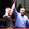 New England Golden Gloves boxing. Nathan Balakin of Tyngsboro and Central New England (Red) is declared the winner in his 141 lb Novice semi-final over Joe Hoopaugh of Richmond, VT and Northern New England,a after referee Rick Robitaille stopped the contest. (SUN/Julia Malakie)