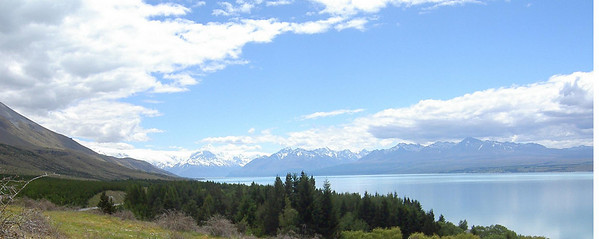 Lake Pukaki with Mt Cook in the background. This is where we will be climbing.