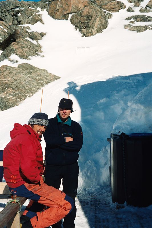 Kelman Hut veranda. Erwin (left), an instructor, and Richard. Feb 04