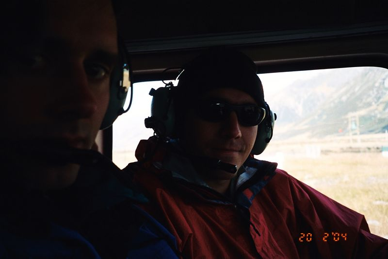 Richard (left) and Trent during the flight in. 19 Feb 04