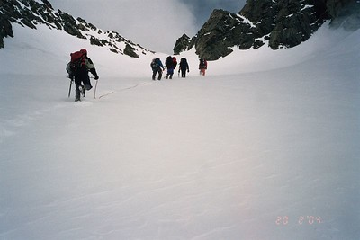 Climbing up to Kelman Hut. 19 Feb 04