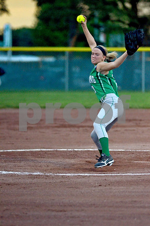-Messenger photo by Britt Kudla<br /> Amanda Lansman of St. Edmond pitches against Newell-Fonda on Monday at Roger Park