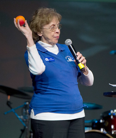 """NALA Executive Director Marj Boudreaux throws out the """"first pitch"""" at the anuual NALA Spell Ball last month at St. Paul's United Methodist Church. Boudreaux is retiring in June after 24 years of service.<br /> Globe 