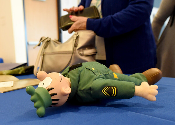 """A toy """"Sarge"""" from the popular comic strip """"Beetle Bailey"""" rests on a table during A Tribute to Mort Walker on Thursday at Crowder College. The event was part of Crowder's 76th Anniversary.<br /> Globe   Laurie Sisk"""