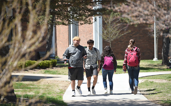 Students pass by the Billingsley Student Center on Thusday at Missouri Southern.<br /> Globe   Laurie SIsk
