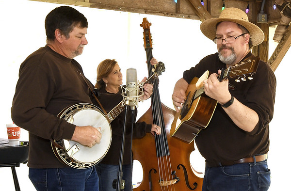 Members of Red Bridge Trio entertain guests at the Webb City Farmers Market on Saturday.<br /> Globe | Laurie SIsk