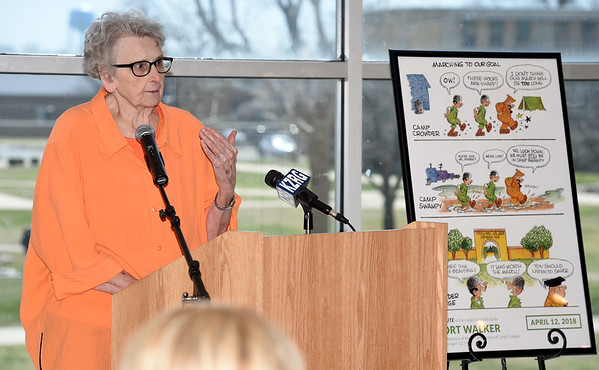 """""""Red Hot and Dusty: Tales of Camp Crowder"""" author Kay Hively talks about the evolution of her thesis into a book during a tribute to Mort Walker during Crowder College's 76th anniversary celebration on Thursday at Crowder.<br /> Globe   Laurie Sisk"""