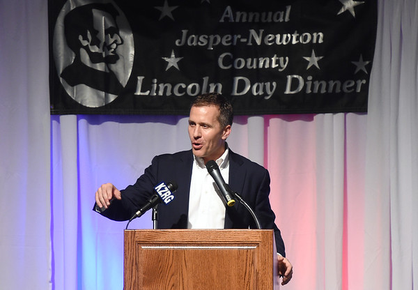 Missouri Governor Eric Greitens addresses a crowd of about 400 Jasper and Newton County Republicans during the Annual Lincoln Day Dinner on Saturday night at Calvary Church.<br /> Globe | Laurie Sisk