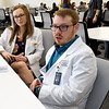 From the left: Kansas City University Student Ambassadors Courtney McClure and Jonathan Montrose talk about their KCU experience during Accepted Students Day at KCU on Saturday.<br /> Globe | Laurie Sisk
