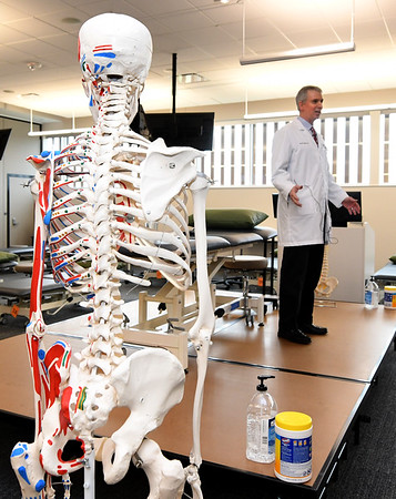 Dr. Jay Danto familiarizes accepted students and their guests with the Osteopathic Manipulative Medicine Lab at Kansas City University during Accepted Students Day at KCU on Saturday.<br /> Globe   Laurie Sisk