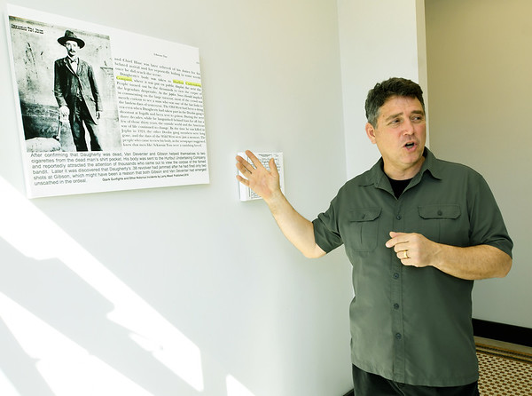 Developer Jeff Neal tells the story of outlaw Roy Daugherty, who was gunned down by law enforcement. Daugherty's body was taken to the Hurlbut Mortuary, for thousands of Joplin residents to view.<br /> Globe   Laurie Sisk