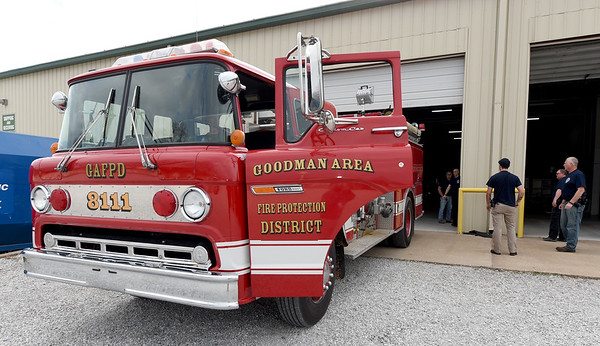 One of the Goodman Area Fire Protection District's trucks sits outside a Puppy's Choice warehouse on Thursday in Goodman. The department is leasing space from the business after their last space was destroyed in a tornado last year.<br /> Globe   Laurie Sisk