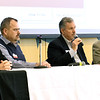 From the left: John Motazedi, owner of SNC Squared Technology Group, James Richards, CEO of Stronghold Data, Larry Hedin, senior business consultant for Oxen Technology and Charlie Davis, owner of Software Center, engage in a panel discussion of IT issues as they relate to cyber security during Cyber Awareness 360 on Friday at Missouri Southern.<br /> Globe | Laurie Sisk