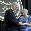 Missouri Southern President Alan Marble presents Annie Baxter Award winner and Executive Director of the Lafayette House Alison Malinowski Sunday her nomination pin during the Annie Baxter Award Ceremony on Wednesday at Missouri Southern. Malinowski was named the 2018 Annie Baxter Award winner.<br /> Globe | Laurie Sisk