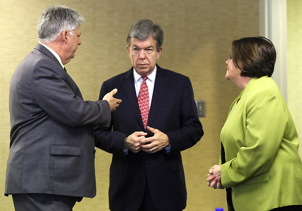 From the left: Missouri Southern President Alan Marble, Missouri U.S. Sen. Roy Blunt and Crowder College President Jennifer Methvin visit before a panel discussion on Pell Grants on Tuesday at MSSU.<br /> Globe | Laurie Sisk