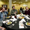 Joplin RVIII Superintendent Melinda Moss, right, visits with JHS student Ian Miller, second from right and hisn family and guests during The Joplin Globe All-Area Academic Excellence Team 32nd Honor Banquet on Tuesday night at Missouri Southern.<br /> Globe | Laurie Sisk