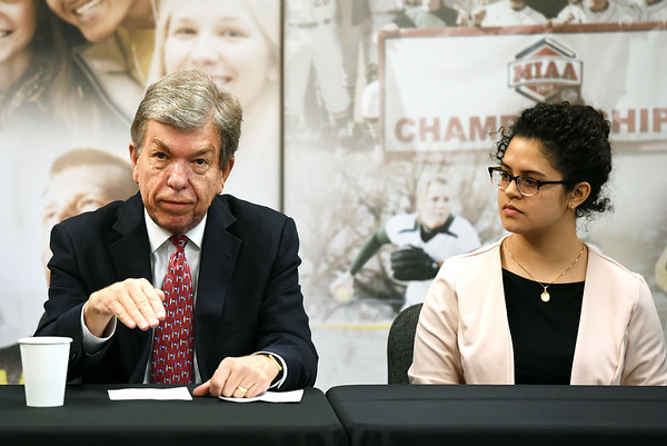 Missouri U.S. Sen. Roy Blunt discusses issues relating to Pell Grants and community colleges  as Crowder College student XX listens during a panel discussion on Tuesday at Missouri Southern.<br /> Globe | Laurie Sisk