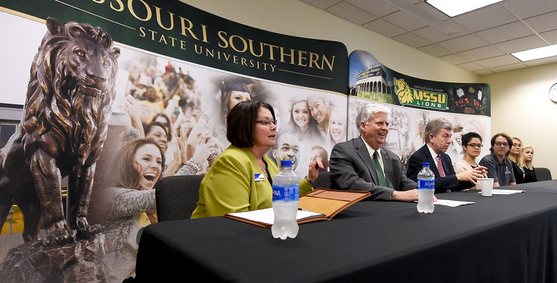 From the left: Crowder College President Jennifer Methvin, Missouri Southern President Alan Marble and Missouri U.S. Sen. Roy Blunt join a panel of student ambassadors from both schools during a discussion on Pell Grants on Tuesday at MSSU. Globe | Laurie Sisk