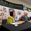 From the left: Crowder College President Jennifer Methvin, Missouri Southern President Alan Marble and Missouri U.S. Sen. Roy Blunt join a panel of student ambassadors from both schools during a discussion on Pell Grants on Tuesday at MSSU.<br /> Globe | Laurie Sisk